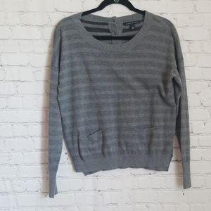 Banana Republic grey strped sweater w/ pockets